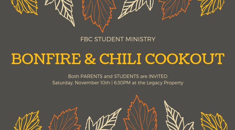 Student Ministry Bonfire and Chili Cookout